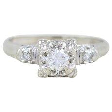 Diamond Engagement Ring 14k White Gold .32 Carat Size 6 3/4