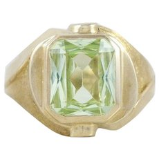 Mens Green Peridot Ring 10k Yellow Gold Size 10 1/4