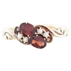 Antique Garnet and Seed Pearl Ring 10k Yellow Gold  Size 6