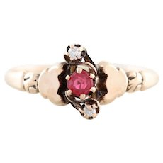 Antique Pink Tourmaline and Diamond Ring 10k Yellow Gold Size 7 Victorian Ring