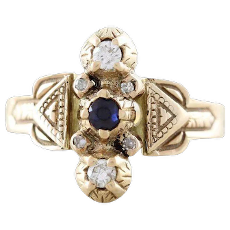 Antique Blue Sapphire and Diamond Ring 14k Yellow Gold Size 5 3/4