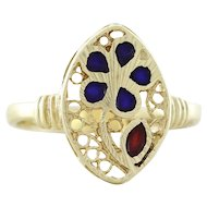 Filigree Flower Ring 14k Yellow Gold with Blue and Red Enamel Size 6