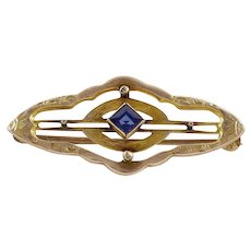 Art Nouveau Art Deco Blue Sapphire 10k Yellow Gold Pin Brooch