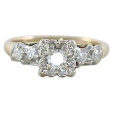 Diamond Ring 14k White Gold and Yellow Gold  Size 5 1/2 Vintage Wedding Ring Circa 40s 50s