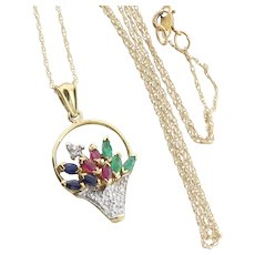 Sapphire, Ruby, Emerald and Diamond Flower Basket Necklace with 18 inch Chain 10K Yellow Gold