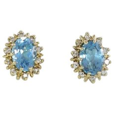 Natural Blue Topaz and Diamond Halo Stud Earrings 14k Yellow Gold