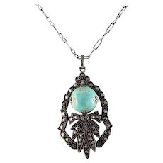 "Sterling Silver Turquoise and Marcasite Necklace 16"" inch chain"