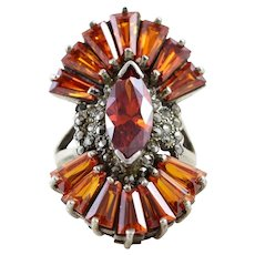 Simulated Citrine Orange Glass and Marcasite Ring Size 8 Sterling Silver