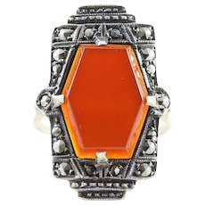 Art Deco Carnelian and Marcasite Ring Sterling Silver Size 5 1/4