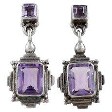 Purple Amethyst Dangle Drop Earrings Sterling Silver Art Deco