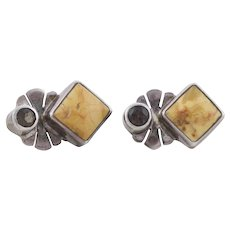 Sterling Silver Brown Jasper and Smoky Quartz Stud Post Earrings