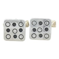 Sterling Silver Square with Dots Bullet Back Cufflinks