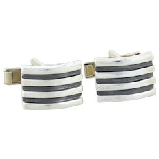 Mens Sterling Silver Whale Back Cufflinks