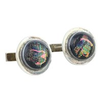 Mens Sterling Silver Dichroic Glass Whale Back Cufflinks