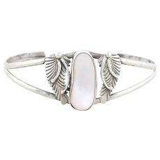 Sterling Silver Mother of Pearl Feather Design Cuff Bracelet 6 3/4