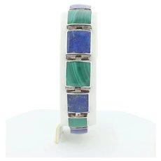 Sterling Silver Lapis Lazuli and Malachite Bracelet 7 inch Long