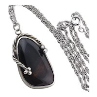 Sterling Silver Mahogany Obsidian Necklace 16 inch chain