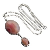 Sterling Silver Apricot Agate Necklace 18.5 inch chain