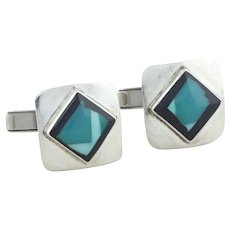 Sterling Silver Turquoise and Onyx Whale Back Cufflinks