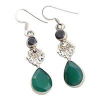 Sterling Silver Garnet and Green Onyx Dangle Drop Earrings