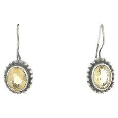 Sterling Silver Citrine Dangle Drop Earrings