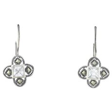 Sterling Silver Cz and Marcasite Star Dangle Drop Earrings
