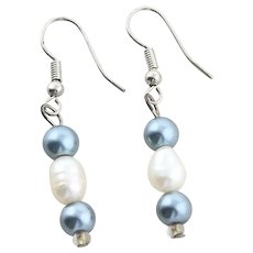 Sterling Silver White and Black Pearl Earrings Dangle Drop Earrings
