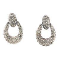 Sterling Silver Marcasite Door Knocker Earrings Dangle Drop Earrings