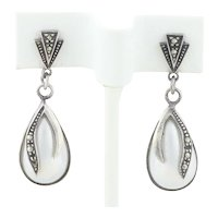 Sterling Silver Pearl and Marcasite Dangle Drop Earrings