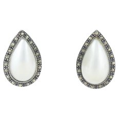 Sterling Silver Imitation Pearl and Marcasite Tear Drop Stud Post Earrings