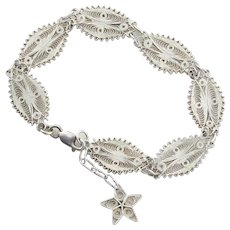 Sterling Silver Filgree Link Star Dangle Charm Bracelet 7 1/2 Adjustable