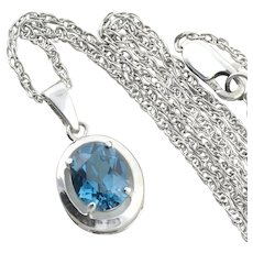 Sterling Silver London Blue Topaz Necklace 2 mm wide 18 inch chain