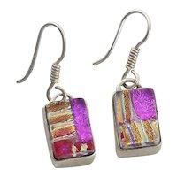 Sterling Silver Dichroic Glass Earrings Dangle Drop Earrings