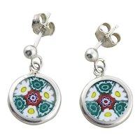 Sterling Silver Murano Glass Millefiori Glass Flower Earrings Dangle Drop Earrings