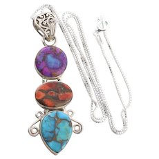Sterling Silver Sugilite Jasper and Turquoise Gemstone Necklace 18 inch chain