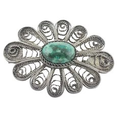 Sterling Silver Green Agate Flower Pin Brooch