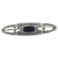 Sterling Silver Marcasite and Onyx Bar Pin Brooch