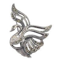 Sterling Silver Marcasite Swan Bird Pin Brooch