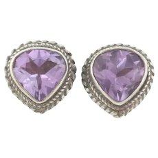 Sterling Silver Purple Amethyst Stud Post Earrings
