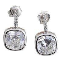 Sterling Silver CZ Drop Earrings