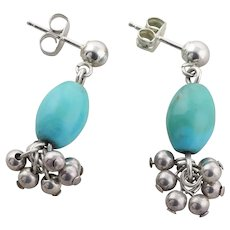 Sterling Silver Turquoise and Sterling Beads Dangle Drop Earrings