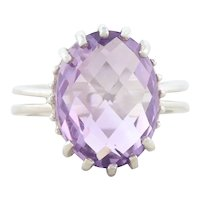 Large Sterling Silver Amethyst Ring Size 7 3/4