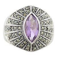 Sterling Silver Amethyst and Marcasite Ring Size 9