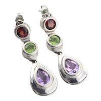 Sterling Silver Garnet, Peridot and Amethyst Dangle Drop Earrings