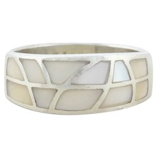 Sterling Silver Mother of Pearl Band Ring Size 7 3/4