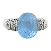 Sterling Silver Blue Topaz and Marcasite Band Ring Size 6