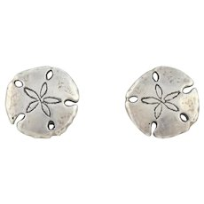 Sterling Silver Sand Dollar Earrings Shell Earrings Stud Post Earrings
