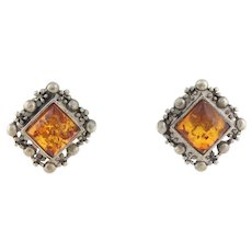 Sterling Silver Amber Earrings Stud Post Earrings