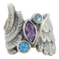 Sterling Silver Purple Amethyst and Blue Topaz Feather Ring Size 9