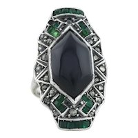 Sterling Silver Green Onyx, Green Glass, and Marcasite Ring Art Deco Ring Size 2